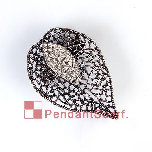 Top Fashion Jewellery Pendant Scarf Magnet Accessories Mental Alloy Rhinestone Charm Leaf Magnetic Pendant, AC0225