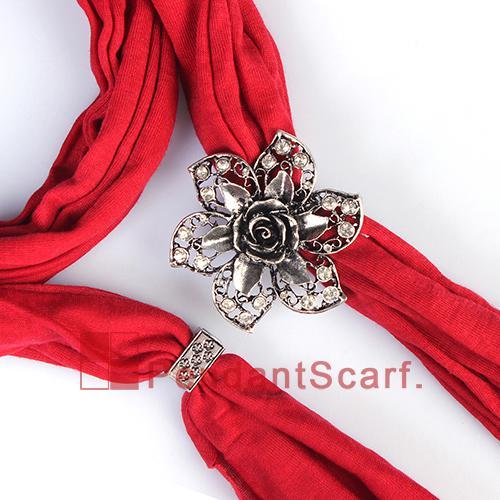 / heißer verkaufender blauer hängender Schal-Frauen-Halsketten-Schmucksache-Schal mit Charme-Magneten Rhinestone-Blumen-Anhänger, freies Verschiffen, SC0019S