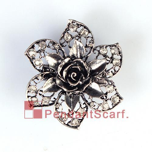 12 UNIDS / LOTE DIY Popular Collar Bufanda Imán Accesorios de Aleación Mental Rhinestone Encanto Flor Magnética Accesorios, Envío Gratis, AC0226