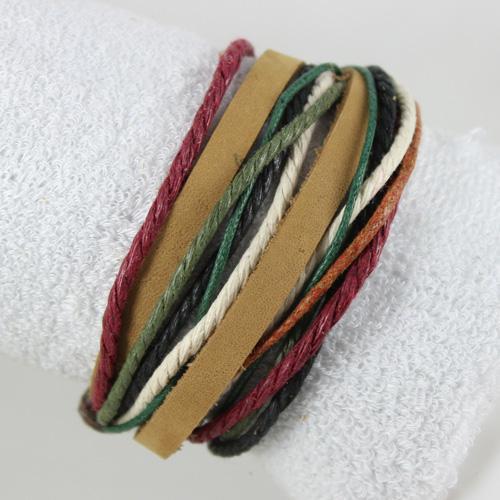 Förderung-handgemachtes echtes Leder-Armband neue Ankunftsqualitätsart- und -hanf ethnische Verpackungsarmbänder Einzelteil C mischen Entwurf