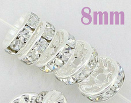 Wholesale Silver Plated Round Rhinestones Beads - Free Shipping 50pcs Lot 8MM Crystal Spacer Metal Silver Plated Rondelle Rhinestone Loose Beads For Jewelry Making b04