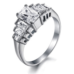 Wholesale Engage Rings - 2013 New Arrival 316L Stainless Steel Crystal Immitation Diamond Stones Engage Wedding Bridal Anniversary Ring SZ#5-9