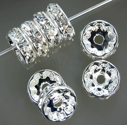 Gratis verzending 8mm 10mm White Clear a Rhinestone Crystal verzilverd Rondelle Spacer. Beste losse kralen sieraden bevindingen.