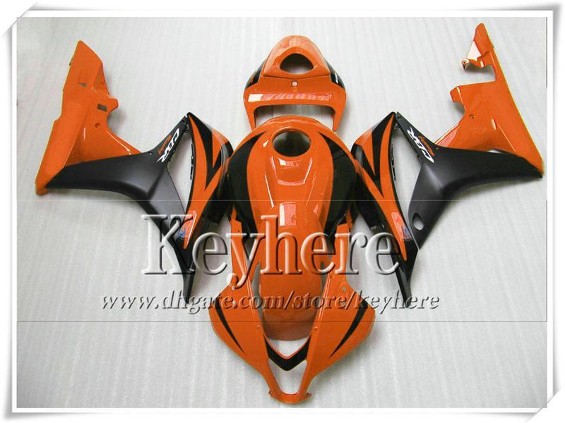 Carenados de moto naranja negro de alta calidad para inyección HONDA CBR600RR 07 CBR-600RR 08 kit de carrocería de carenado 2007 2008 CBR 600RR F5 con 7 regalos fk9