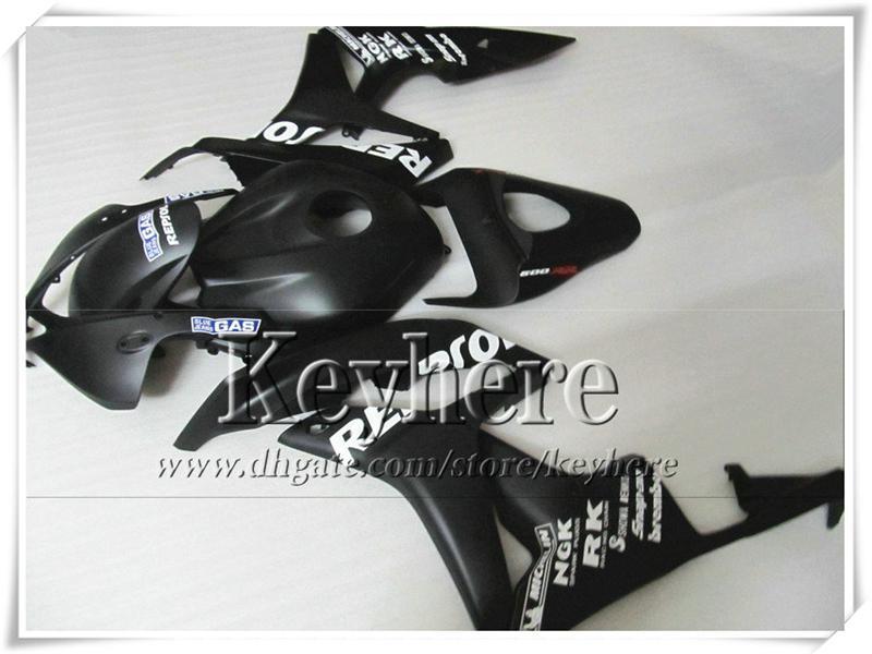 Kit de carenado de inyección personalizado para HONDA CBR600RR 2007 2008 CBR-600RR 07 08 F5 negro mate REPSOL conjunto de carrocería de motocicleta con 7 regalos fk10