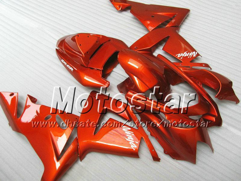 7 kits de cuerpo de carenados de regalos para Kawasaki Ninja ZX-10R 2004 2005 ZX10R 04 05 ZX 10R todo brillante naranja rojo mercado de accesorios carenado sw21