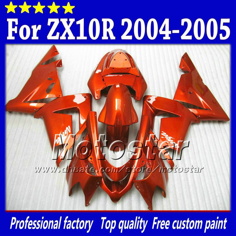 7 Gifts fairings body kit for Kawasaki Ninja ZX-10R 2004 2005 ZX10R 04 05 ZX 10R all glossy orange red aftermarket fairing sw21