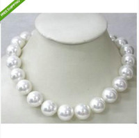Wholesale South Sea Shell Pearl Gold - 18'' AAAA+14mm South Sea White Shell Pearl Necklace
