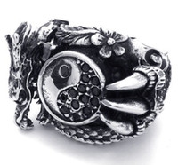 Wholesale Rings Tai Chi - New 316L Stainless Steel Casting Black Tai Chi Dragon Symbol Ring SZ#7-11