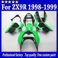 ingrosso kawasaki zx9r 1998 rivestimento verde-7 regali carene parti moto per Kawasaki Ninja ZX-9R 1998 ZX9R 98 99 ZX 9R 1999 verde lucido con kit carenatura nera sw36