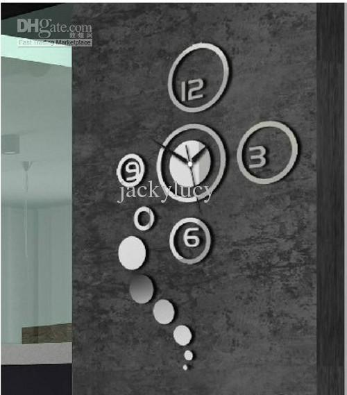 free delivery 3d mirror wall stickers diy fashion wall clock special