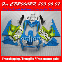 Wholesale Cbr Body Parts - 7 free gifts !water blue green fairing body kits for Honda 1996 1997 CBR900RR 893 motorcycle parts CBR 900RR 96 CBR900 97 with 7 gifts hb9