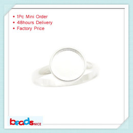 Rounded Ring Canada - Beadsnice ID26604 pure 925 modern silver ring wholesale top quantity silver ring base round cabochon ring setting