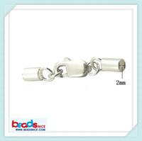 Beadsnice ID 25295 elegant leather cord end caps with lobster clasp 925 sterling silver cord clasps