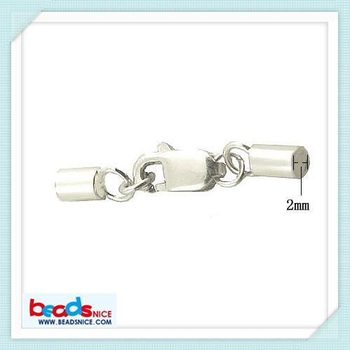 Beadsnice ID 25295 tampas de cabo de couro elegante com fecho da lagosta 925 fechos de corda de prata esterlina