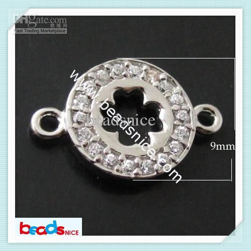 Beadsnice ID 21422 jewelry connector for bracelet making 925 sterling silver diy jewelry four-leaf clover connectors micro pave rhinestone