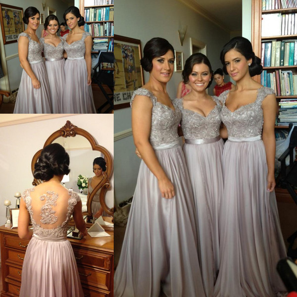 top popular Free shipping!Norma Couture silver grey coral lavender cap sleeve sheer back applique chiffon long for sale cheap bridesmaid dresses 2021
