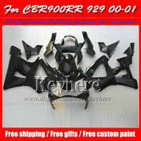 Wholesale black cbr 929 fairing for sale - Group buy All glossy black ABS fairing body kit for Honda CBR900RR CBR RR plastic motorcycle parts CBR RR with gifts kp8