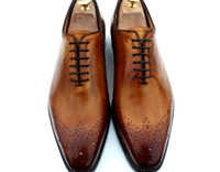 ingrosso pompe a punta di punta-Scarpe eleganti uomo Scarpe oxford Scarpe da uomo su misura Scarpe artigianali in vera pelle di vitello marrone Vendita calda HD-035