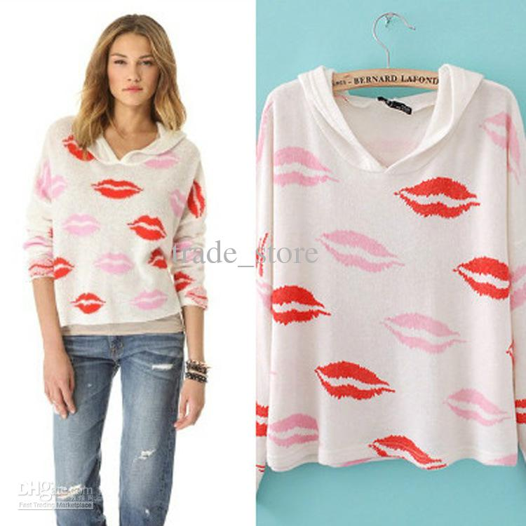 6e4aa943e6 Fashion Sweatshirts Women Pullover Hoodies And Tops Lips Printed Sweatshirts  Long Sleeve Western Hoody Knit Wear SX16 Tshirt Sweater Blouse Online with  ...