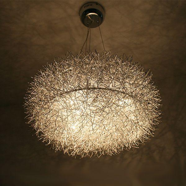 """Modern 20"""" Aluminum Wire Nest Dining Room Pendant Light Glass Egg Restaurant Study Room Lamp Glass Oval Ball 8 Lights Pendant Lamp"""