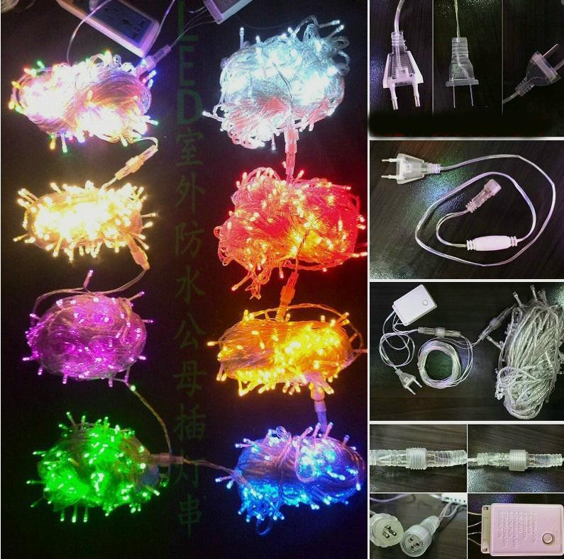 Alta calidad 220 V 8 flash diferente 200LED 20M luces de la secuencia de hadas luces de Navidad luces de hadas de vacaciones añadir tapón de cola