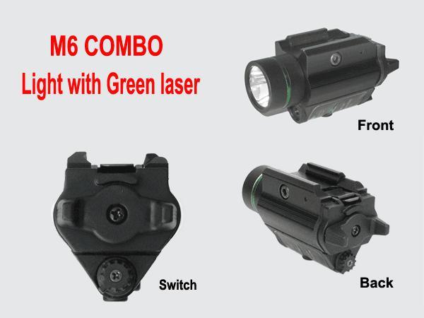 Taktische M6 BK CREE LED Taschenlampe Grün Laser Sight Combo W / Picatinny Schiene