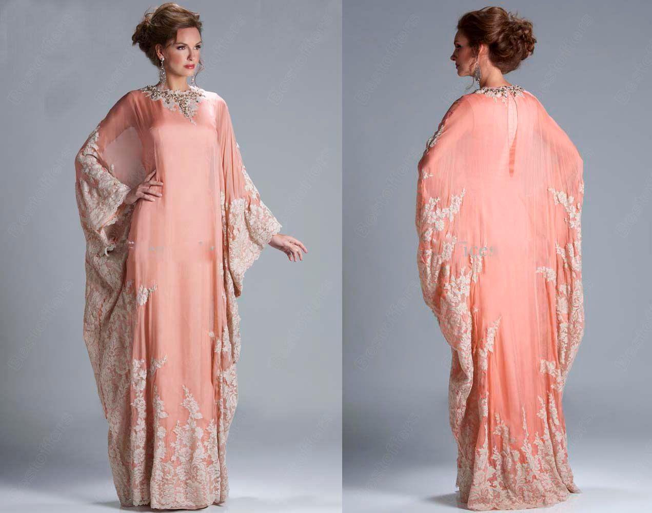 Abaya Kaftan Dubai Peach Long Sleeves Cheap Evening Dress