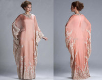 Wholesale Abaya Kaftan Dubai Peach Long Sleeves Cheap Evening Dress Chiffon Lace Appliqued Long Sleeves Lace formal Women Gown Evening Gowns JQ3309
