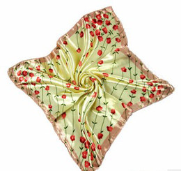 Wholesale Mixed Scarves Silk Flower - Square Scarf Satin Fabric Imitation Silk 50*50cm Flower Mix Order New Arrival 30PCS Lot Free Shipping 0812B2-4