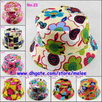 Wholesale Colorful Bucket Hats - Hot Sale Cute Cartoon printed picture kid girl cap lovely sun hat Colorful Baby Bucket hats canvas children beanie 24 design available 10pcs