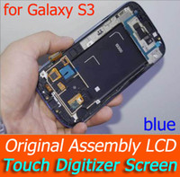 Wholesale Original Galaxy S3 Lcd Black - by DHL I9300 LCD With Touch Digitizer Screen Original Assembly with frame For Samsung Galaxy S3 LCD Screen Assembl blue white black