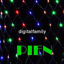 Wholesale Led Web Lights - Xmas LED Net Light Multi color 96 LED Web Fairy Lights 1.5m x 1.5m Led String lamp decoration+Power plug Free Ship 6set lot