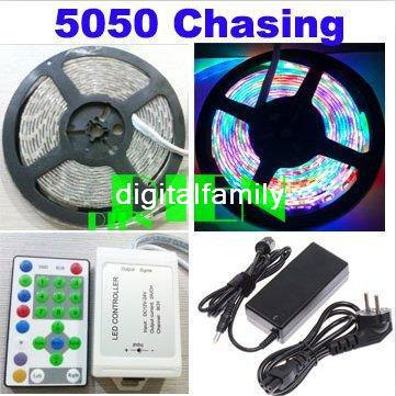 5050 RGB LED Running Strip Horse Race SMD Chasing Flexibale Waterproof Lights 270 LED 5M Dream Color + Controller + 6A power supply