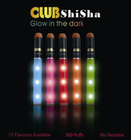 Wholesale Disposable Nicotine - Shisha Time Club glow in the dark Disposable Electronic Cigarette 10 Flavours Available Up tp 500 Puffs No Nicotine