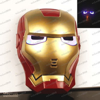 Wholesale Make Led Costumes - LLFA1585 GLOW In The Dark LED Iron Man Spider Man Mask Halloween Costume Theater Prop Novelty Make Up Toy Kids Boys Favorite Worldwide