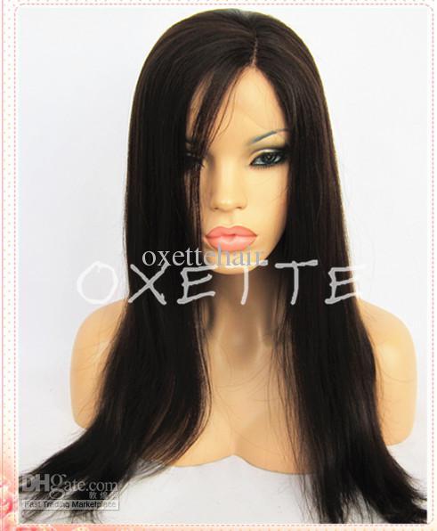 Oxette envío gratis lado luz de despedida yaki recta peluca llena del cordón línea del pelo natural frente peluca del cordón del pelo del bebé nudos blanqueados