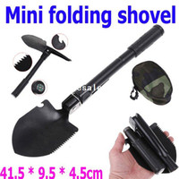 Wholesale Plastic Snow Shovels Wholesale - 2PCS lot Multifunctional Folding Steel Military Shovel Spa for Garn and Camping with Compass Survival, Free drop