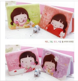 Wholesale Cute Dress Korea Girl - hot sale Korea cartoon love girl MOMOI card bag 12 screens bank card package 4colors mixed card holder new biscuit cute Niuzai card packY628