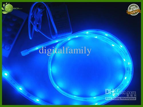 Barato al aire libre impermeable LED 5m 300led IP67 TUBO RGB 5050 Luz con 24 teclas Controlador IR con fuente de alimentación de 12V 5A a través de DHL FEDEX