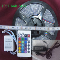 Wholesale led strip lights waterproof tube - 5m 300LED IP67 Tube waterproof RGB 5050 LED Strip Outdoor light + 24 keys IR Remote Controller + 12V 5A power adapter Christmas Gifts