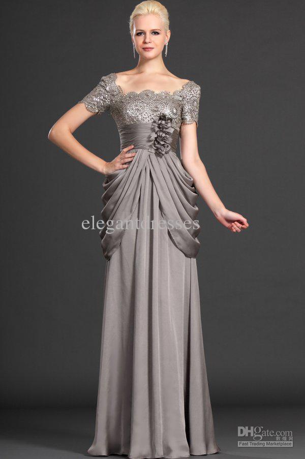 Bescheiden op maat gemaakte 2019 nieuwe sexy moeder korte mouw met bloemen formele avondjurk elegante chiffon moeder van de bruid jurken gla017