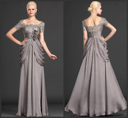 Wholesale New Mother Flowers - Modest Custom made 2014 New sexy mother short sleeve with flowers formal evening dress elegant chiffon mother of the bride dresses gla017