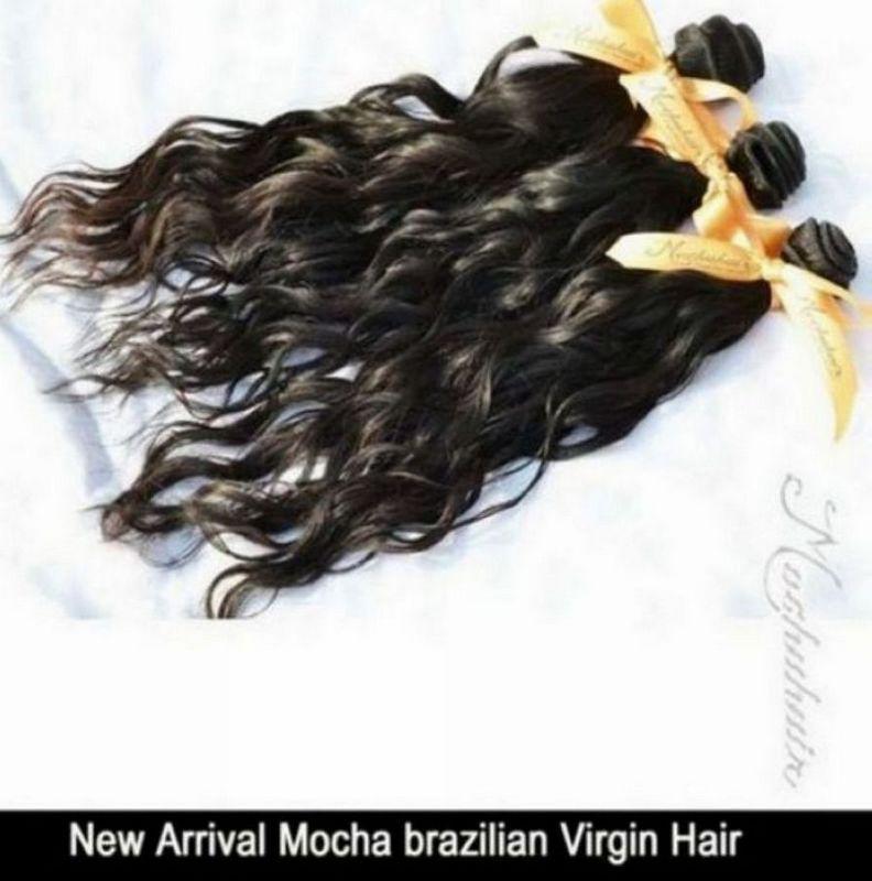 / Moka 12-26 pouces couleur naturelle cheveux vierges, extensions de cheveux de vague d'eau brésilienne, haute qualité