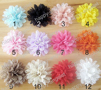 Wholesale toddlers tiaras baby girls - Free Shipping 36pcs toddler baby girl lace wave multilayer chiffon hair flower without hairclip,girl hairwear