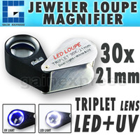 GM31 portatile Handheld 30x 21mm Triplet Lente d'ingrandimento Gioielliere Lente di ingrandimento w / White LED Luci + UV Lighting LED
