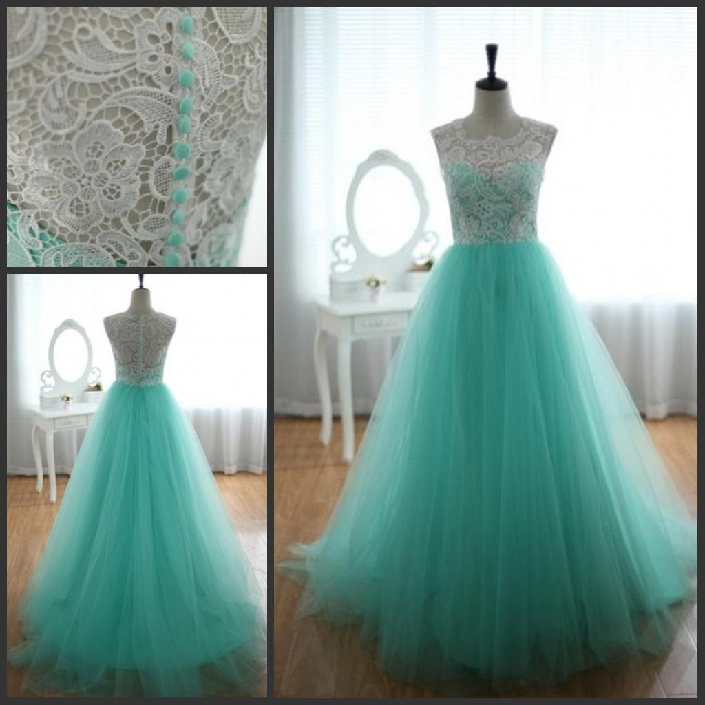 2013 Lace Tulle Turquoise Wedding Dresses Sleeveless Sweetheart ...