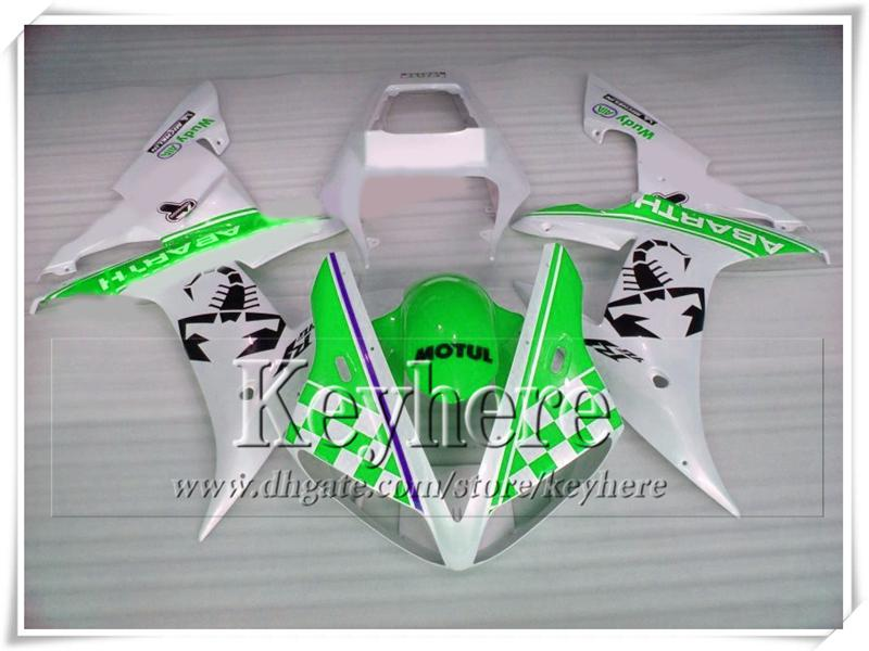 Popular YZFR1 2002 2003 ABS plastic YAMAHA fairing kit YZF R1 02 YZF-R1 03 green white racing motorcycle parts with 7 gifts tp41