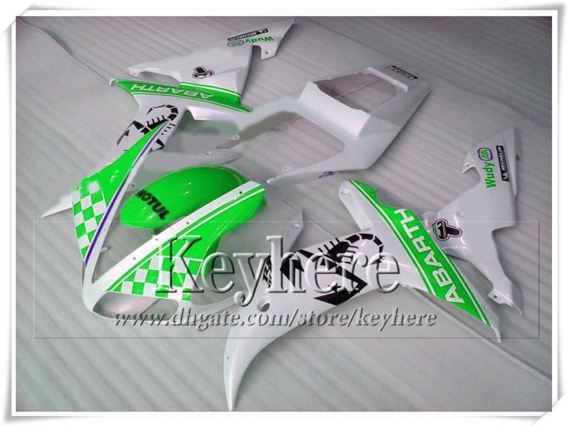 Popular YZFR1 2002 2003 ABS plástico YAMAHA kit de carenado YZF R1 02 YZF-R1 03 verde blanco racing piezas de la motocicleta con 7 regalos tp41