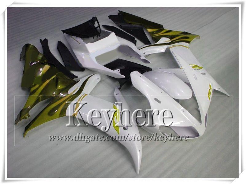 Beliebte YZFR1 2002 2003 gelb weiß schwarz ABS Kunststoff YAMAHA Verkleidung Kit YZF R1 02 YZF-R1 03 Rennmotorradteile mit 7 Geschenke tp65